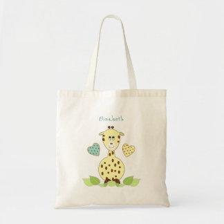 Jouets jaunes personnalisés de girafe tote bag