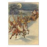 Jouets vintages de Sleigh de renne du père noël de Carte De Vœux