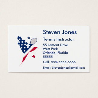 Joueur d'Américain de tennis des Etats-Unis Cartes De Visite