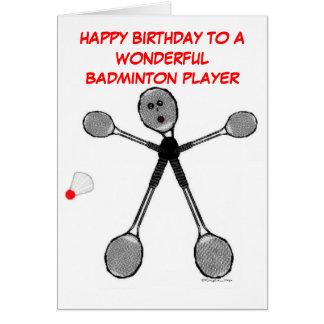 Joueur de badminton de joyeux anniversaire cartes
