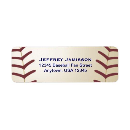 Joueur de baseball, étiquette de nom et adresse de