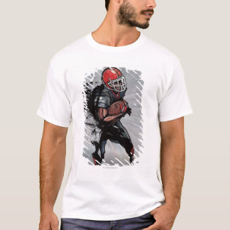 Joueur de football américain tenant le football t-shirt