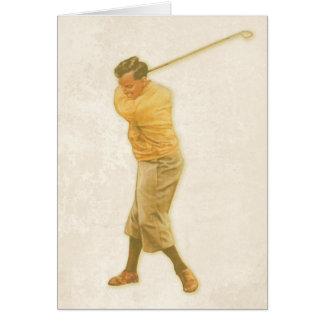 Joueur de golf de withVintage de carte de voeux