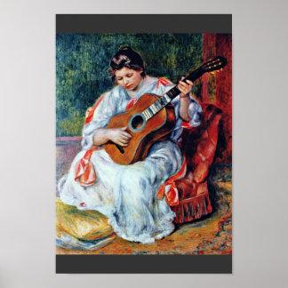 Joueur de guitare par Pierre-Auguste Renoir Affiche