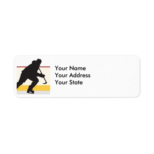 joueur de hockey de glace sur le mouvement étiquette d'adresse retour