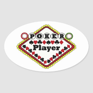 Joueur de poker autocollant ovale