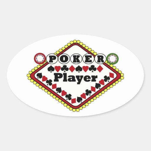 Joueur de poker autocollants ovales