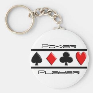 Joueur de poker porte-clé rond