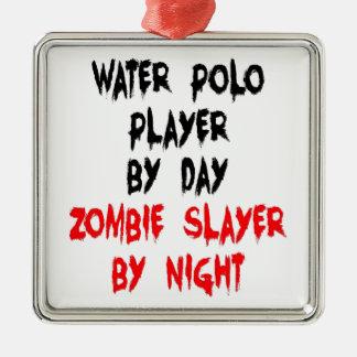Joueur de polo d'eau de tueur de zombi ornement carré argenté