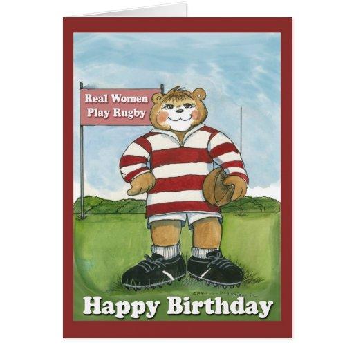 Joueur de rugby - carte d'anniversaire femelle   Zazzle