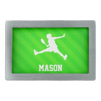 Joueur de tennis ; Rayures vertes au néon Boucle De Ceinture Rectangulaire