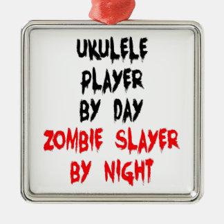 Joueur d'ukulélé de tueur de zombi ornement carré argenté