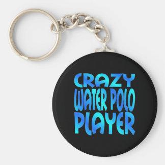 Joueur fou de polo d'eau porte-clé rond