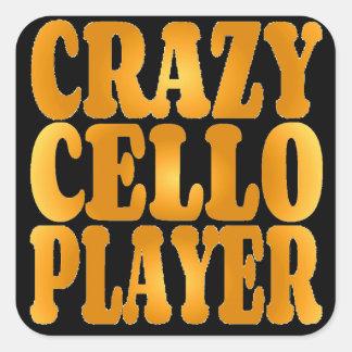 Joueur fou de violoncelle en or sticker carré