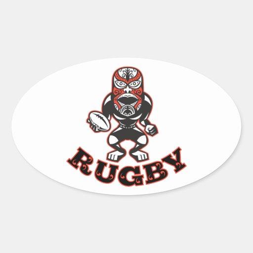 Joueur maori de rugby de masque courant avec sticker ovale