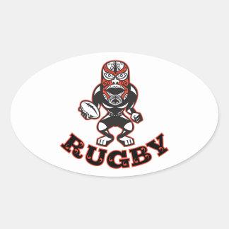 Joueur maori de rugby de masque courant avec défen autocollants