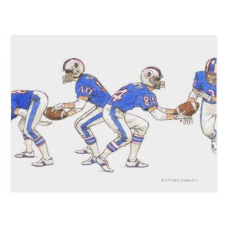 Joueurs de football américain démontrant des cartes postales