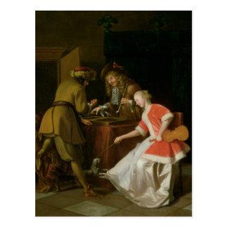 Joueurs de Tric-trac avec Madame et son chien Carte Postale