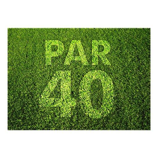 Jouez au golf la quarantième fête d'anniversaire invitation