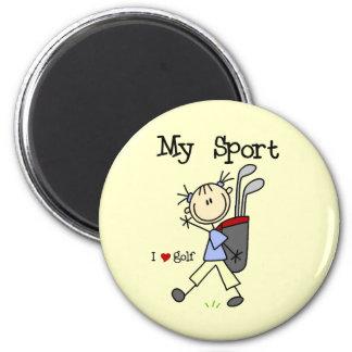Jouez au golf mon sport magnet rond 8 cm