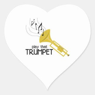 Jouez cette trompette autocollant en cœur