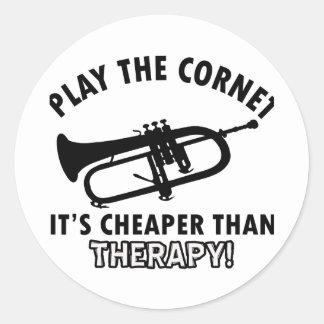 Jouez la trompette adhésif rond