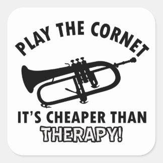 Jouez la trompette autocollants carrés