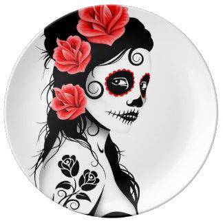 Jour blanc de la fille morte de crâne de sucre assiette en porcelaine