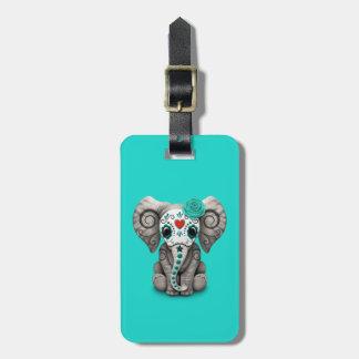 Jour bleu de l'éléphant mort étiquette à bagage