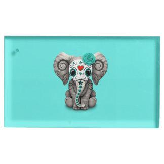 Jour bleu de l'éléphant mort porte-numéro de table