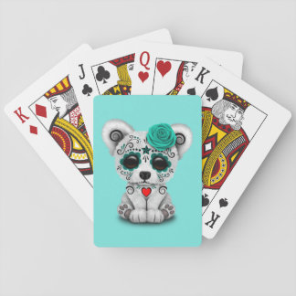 Jour bleu de l'ours blanc de bébé mort jeu de cartes