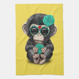 Jour bleu du chimpanzé mort serviette éponge