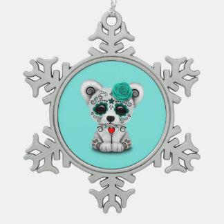 Jour bleu du chiot mort de bébé ornement flocon de neige pewter