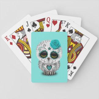 Jour bleu du hibou mort de bébé cartes à jouer