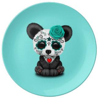 Jour bleu du panda mort CUB Assiette En Porcelaine
