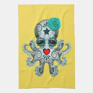 Jour bleu du poulpe mort de bébé serviettes éponge