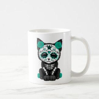 Jour bleu turquoise mignon du chat mort de chaton mug