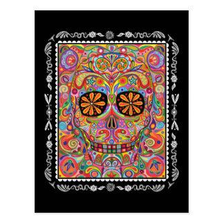 Jour coloré de crâne de sucre de la carte postale