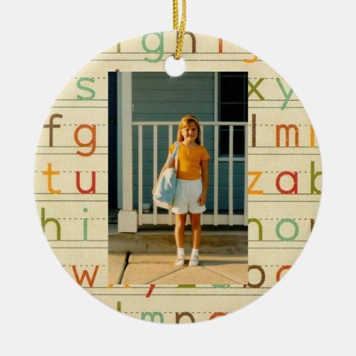Jour d'alphabet d'impression premier d'école toute décoration pour sapin de noël