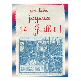 Jour de bastille heureux carte postale