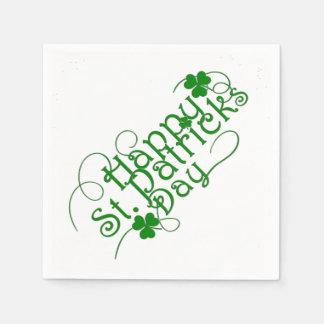 Jour de la Saint Patrick heureux en manuscrit Serviette En Papier