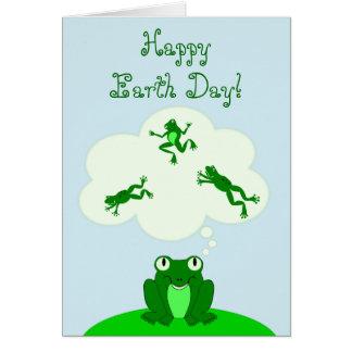 Jour de la terre vert heureux avec la grenouille cartes de vœux
