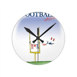 Jour de lavage du football, fernandes élégants horloge ronde