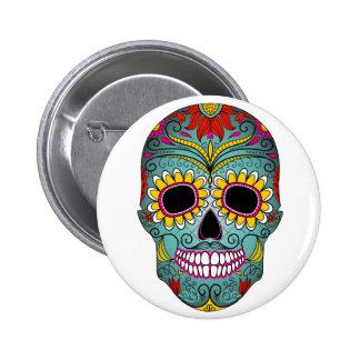 jour-de-le-mort-coloré-crâne-avec-floral-ornamen badges