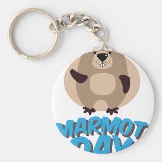 Jour de Marmot - jour d'appréciation Porte-clé Rond