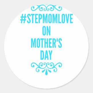 jour de mères de #stepmomlove sticker rond