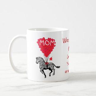 Jour de mères drôle personnalisé de zèbre tasses à café