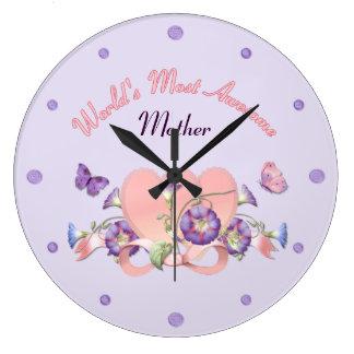 Jour de mères floral de gloire de matin grande horloge ronde