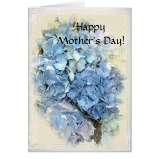 Jour de mères heureux floral d'hortensia bleu carte de vœux