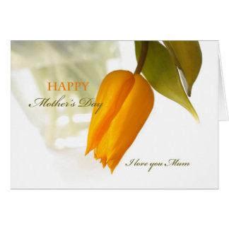 Jour de mères heureux, tulipe jaune carte de vœux